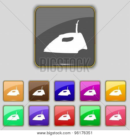 Iron Icon Sign. Set With Eleven Colored Buttons For Your Site. Vector