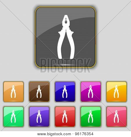Pliers Icon Sign. Set With Eleven Colored Buttons For Your Site. Vector