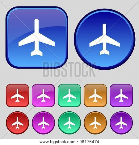 Airplane Icon Sign. A Set Of Twelve Vintage Buttons For Your Design. Vector