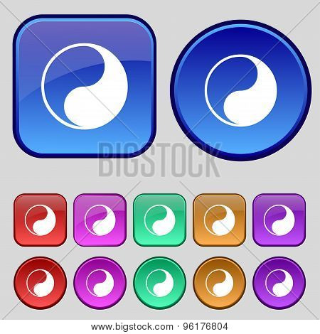 Yin Yang Icon Sign. A Set Of Twelve Vintage Buttons For Your Design. Vector