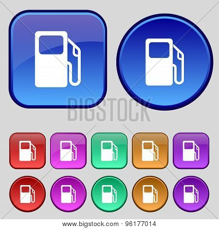 Auto Gas Station Icon Sign. A Set Of Twelve Vintage Buttons For Your Design. Vector