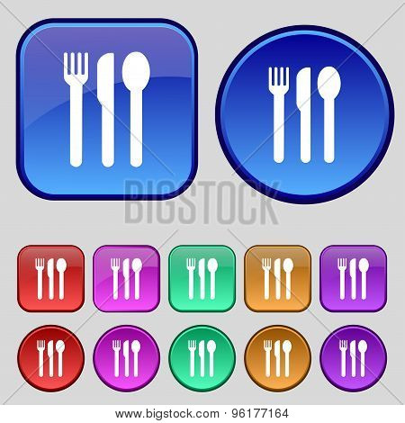 Fork, Knife, Spoon Icon Sign. A Set Of Twelve Vintage Buttons For Your Design. Vector