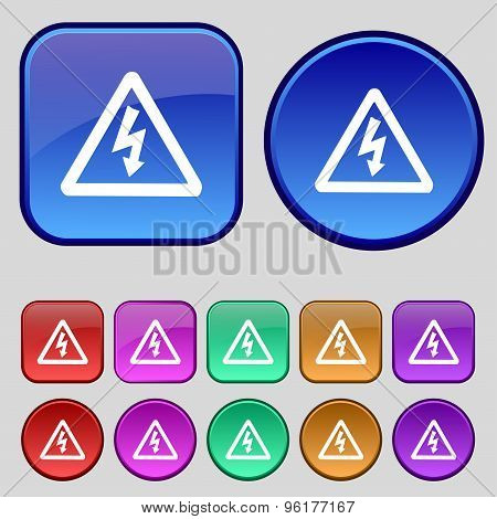 Voltage Icon Sign. A Set Of Twelve Vintage Buttons For Your Design. Vector
