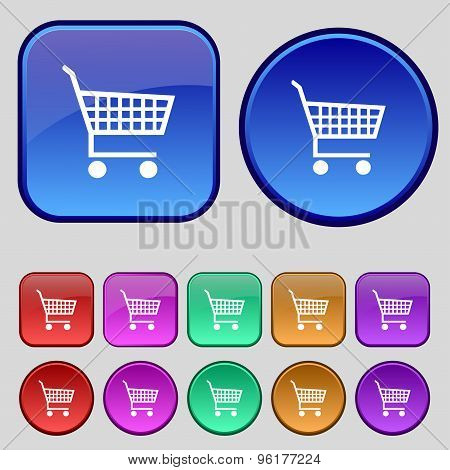 Shopping Cart Icon Sign. A Set Of Twelve Vintage Buttons For Your Design. Vector