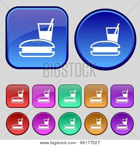 Lunch Box Icon Sign. A Set Of Twelve Vintage Buttons For Your Design. Vector