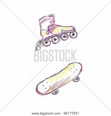 rollers, skate, sketch, vector