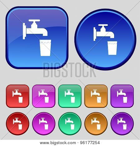 Faucet, Glass, Water Icon Sign. A Set Of Twelve Vintage Buttons For Your Design. Vector