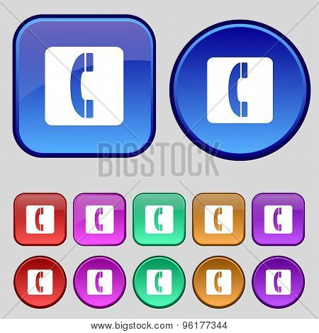 Handset Icon Sign. A Set Of Twelve Vintage Buttons For Your Design. Vector