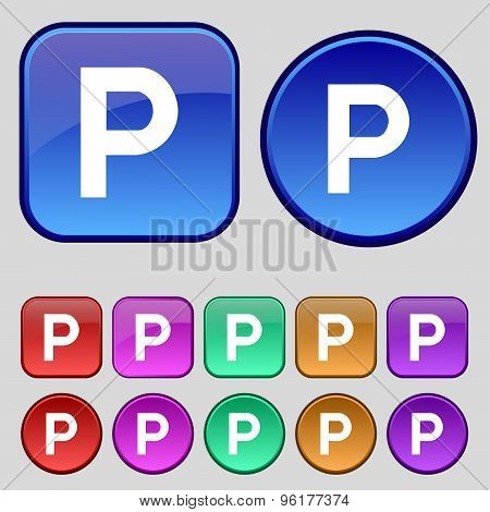 Parking Icon Sign. A Set Of Twelve Vintage Buttons For Your Design. Vector