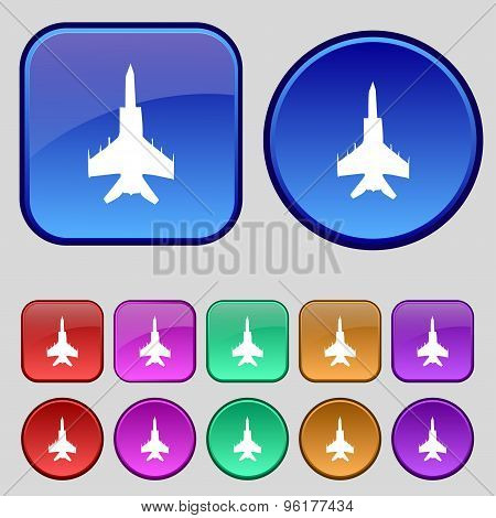 Fighter Icon Sign. A Set Of Twelve Vintage Buttons For Your Design. Vector