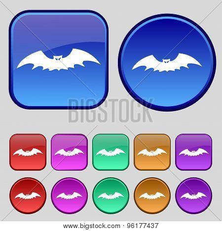 Bat Icon Sign. A Set Of Twelve Vintage Buttons For Your Design. Vector