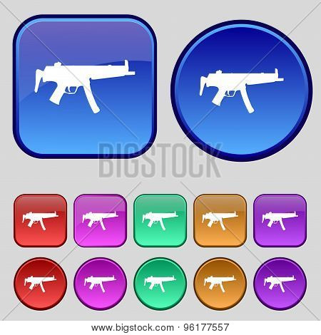 Machine Gun Icon Sign. A Set Of Twelve Vintage Buttons For Your Design. Vector