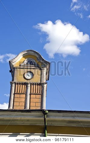 Tower With Ancient Clock On  Manor Roof And  Sky With Cloud