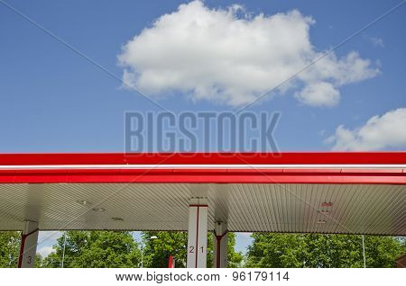 Modern Gasoline Fuel Station Roof And Clouds