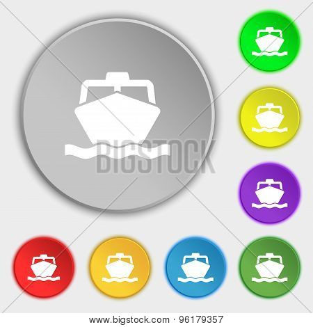 The Boat Icon Sign. Symbol On Five Flat Buttons. Vector