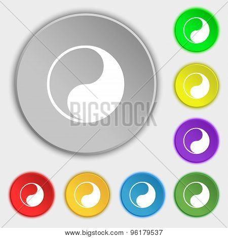 Yin Yang Icon Sign. Symbol On Five Flat Buttons. Vector