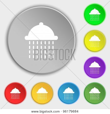 Shower Icon Sign. Symbol On Five Flat Buttons. Vector