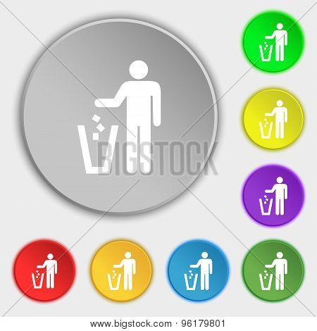 Throw Away The Trash Icon Sign. Symbol On Five Flat Buttons. Vector