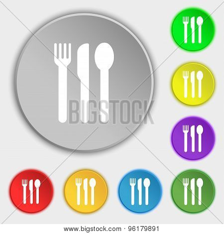 Fork, Knife, Spoon Icon Sign. Symbol On Five Flat Buttons. Vector