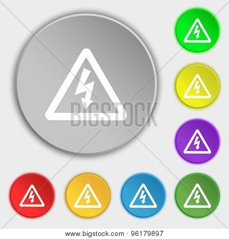 Voltage Icon Sign. Symbol On Five Flat Buttons. Vector