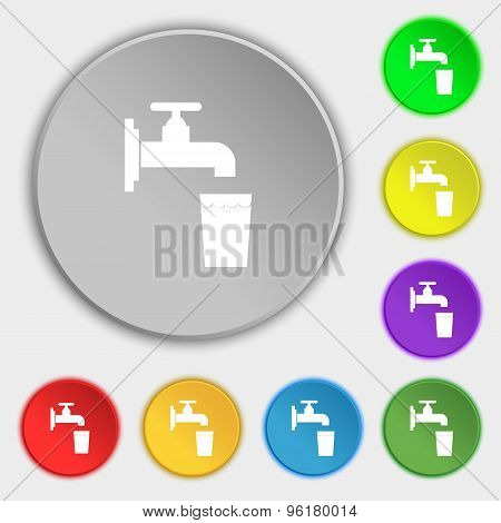Faucet, Glass, Water Icon Sign. Symbol On Five Flat Buttons. Vector