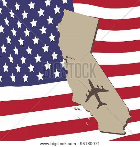 California Air Travel Vector Concept