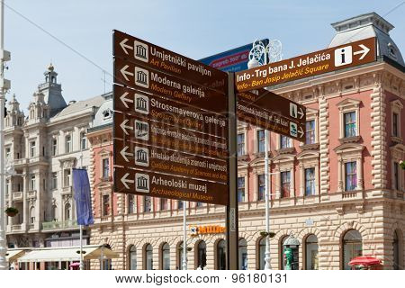 ZAGREB, CROATIA - MAY 13, 2015:  Zagreb guidepost at Ban Jelacic Square