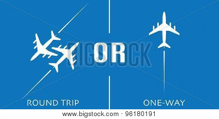 Round Trip Or One-way Airplane Vector Design Concept