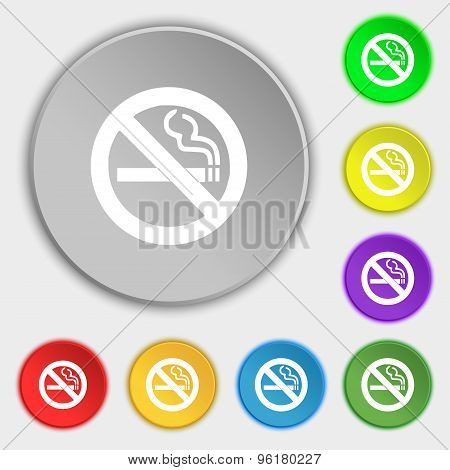 No Smoking Icon Sign. Symbol On Five Flat Buttons. Vector