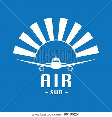 Vector Modern Minimalistic Airplane Logo. Sun Background.