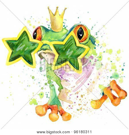 cool frog T-shirt graphics. green frog illustration with splash watercolor textured  background. un