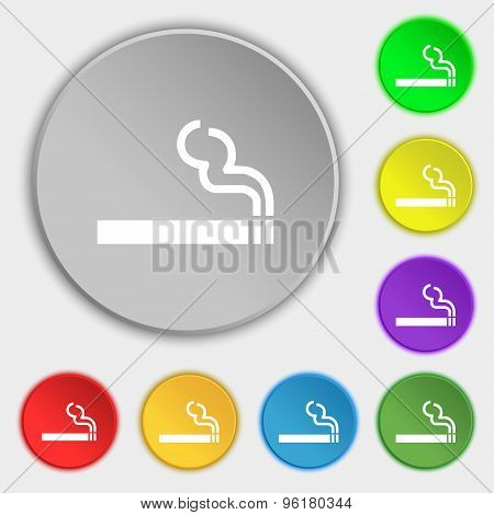 Cigarette Smoke Icon Sign. Symbol On Five Flat Buttons. Vector