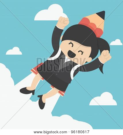 Business Woman Flying With A Rocket Pencil