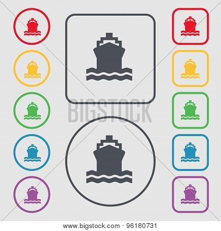 Ship Icon Sign. Symbol On The Round And Square Buttons With Frame. Vector