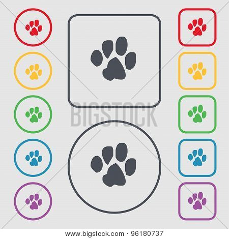 Trace Dogs Icon Sign. Symbol On The Round And Square Buttons With Frame. Vector