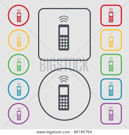The Remote Control Icon Sign. Symbol On The Round And Square Buttons With Frame. Vector