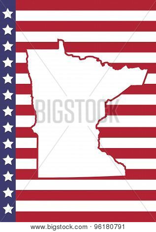 Minnesota Cover Page Vector Design. Usa Flag On Background.