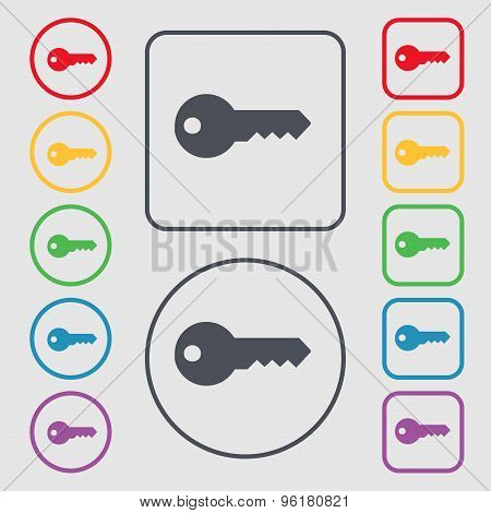 Key Icon Sign. Symbol On The Round And Square Buttons With Frame. Vector