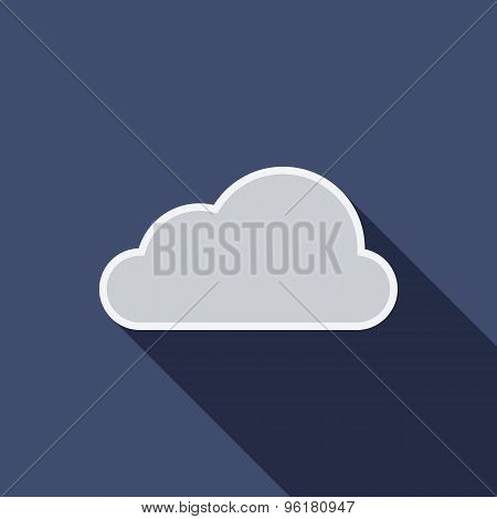 Cloud Icon. Flat Vector Icon With Long Shadow Design Collection.