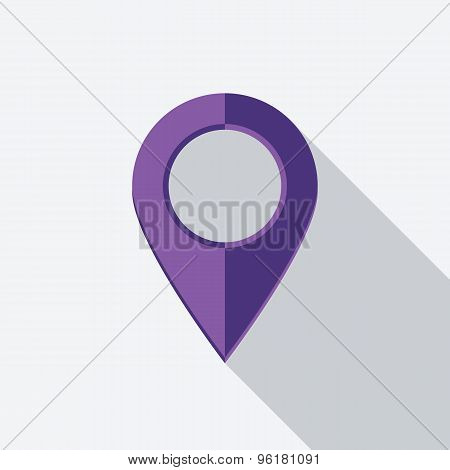 Map Pointer Icon. Flat Vector Icon With Long Shadow Design Collection.