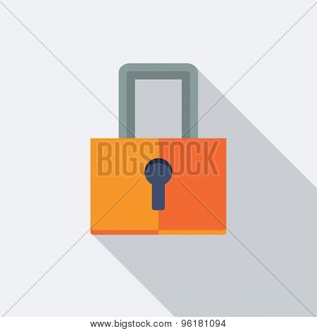 Lock Icon. Flat Vector Icon With Long Shadow Design Collection.