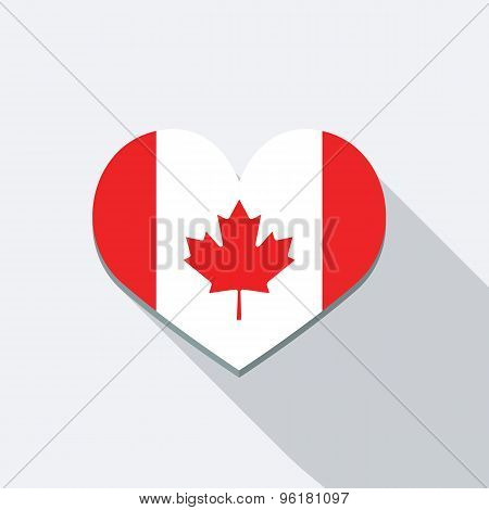 I Love Canada Icon. Flat Vector Icon With Long Shadow Design Collection.