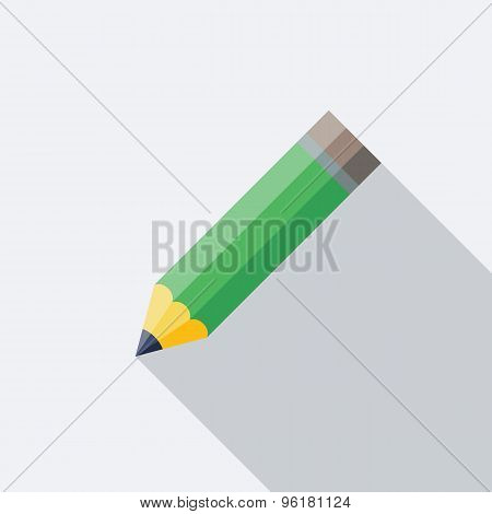 Pencil Icon. Flat Vector Icon With Long Shadow Design Collection.