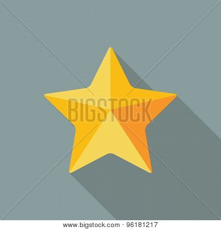 Star Icon. Flat Vector Icon With Long Shadow Design Collection.