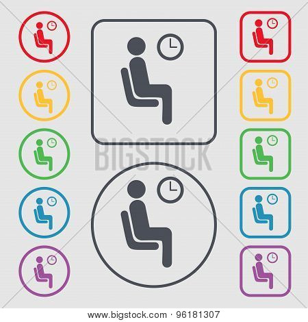 Waiting Icon Sign. Symbol On The Round And Square Buttons With Frame. Vector