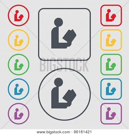 Read A Book Icon Sign. Symbol On The Round And Square Buttons With Frame. Vector