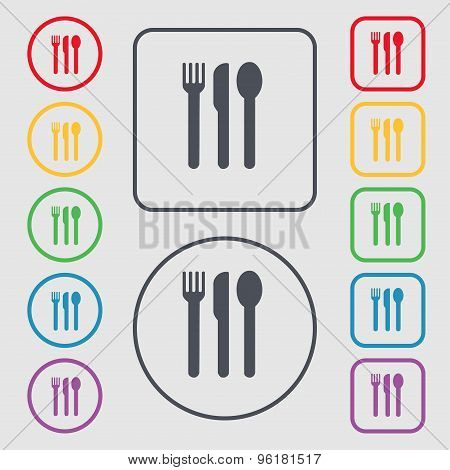 Fork, Knife, Spoon Icon Sign. Symbol On The Round And Square Buttons With Frame. Vector