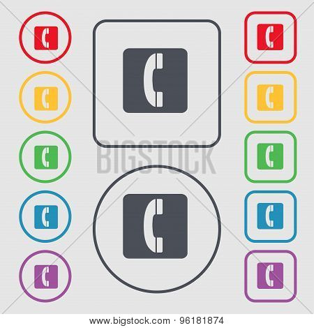 Handset Icon Sign. Symbol On The Round And Square Buttons With Frame. Vector