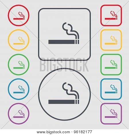 Cigarette Smoke Icon Sign. Symbol On The Round And Square Buttons With Frame. Vector