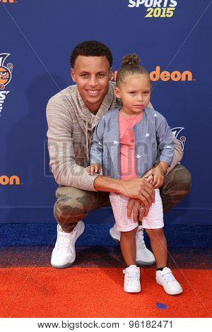 LOS ANGELES - JUL 16:  Stephen Curry, Riley Curry at the 2015 Kids' Choice Sports at the UCLA's Pauley Pavilion on July 16, 2015 in Westwood, CA